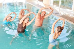 exercise class in swimming pool