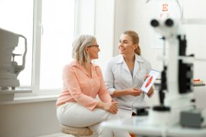 woman asking eye doctor questions