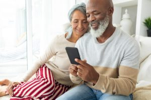 Older couple looking at phone